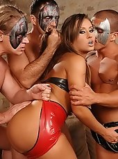 Sandra fucking with three guys in sexy lingerie