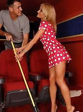 Sexy blonde charwoman fucking in the cinema