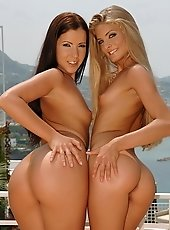 Two very hot lesbian babes having outdoor an sex