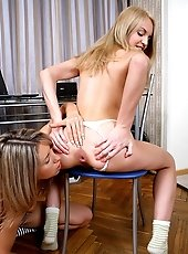Very hot teens are dildoing each others asshole