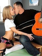 Schoolgirl get her teacher to put down the guitar