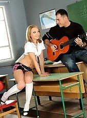 Schoolgirl get her teacher to put down the guitar