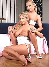 2 Hot Blondes Strip Teases On Sofa