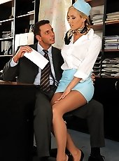 Sexy flight attendant is fucking with her boss