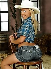 Sexy cowgirl sucking two cocks and anal fucked