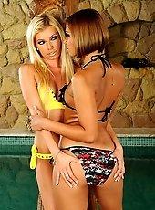 Sexy lesbian girls anal dildoing each in bikini