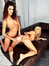Hot babes are inserting a bottle each others ass