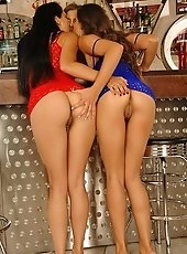 Three beautiful dirty bitches licking in a bar