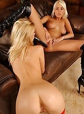 Nasty girls dildoing each in high heels and lingerie