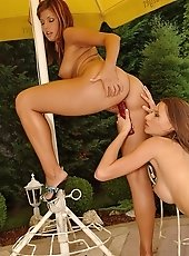 Lucky and Sindy are in dildoing and licking scenes