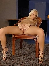 Blond Allison thinks its time to play with herself