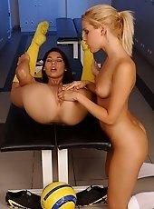 Soccer fan girls lickin and fingerin each in cubicle