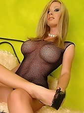 Adorable blonde Helena G playing with a huge dildo
